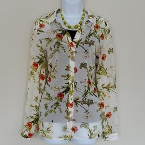 Philosophy Sheer Floral Printed Blouse Size L